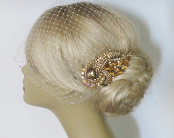 Gold-Topaz Bridal Hair Comb and a Birdcage Veil Ivory   (2 Items) Bridal Veil  Headpieces Bridal Comb  Wedding comb bridal headpieces hair