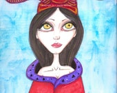 Tribal, Fae, artwork, big eyes, horned helmet, shaman, witch doctor, queen, red and purple