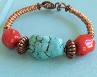 Turquoise and Red Coral Copper Bracelet