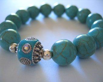 TURQUOISE  Round Beads STRETCH  Bracelet with Feature Bead