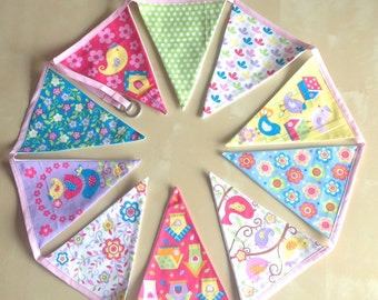 Owl Bird Bunting Pink Lilac Green Yellow Banner 10  Extra Large Flags