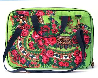 """Laptop Bag, 17"""" laptop bag,fabric laptop bag, green floral laptop bag"""
