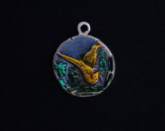 PRICE REDUCED Sterling silver golden quail enameled bracelet charm vintage bird jewelry