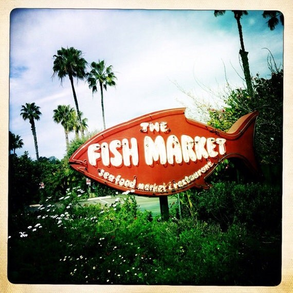 items similar to del mar fish market vintage neon sign