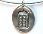 Silver Tardis Necklace, Handmade stamped Necklace, Whovian Necklace, Police Box Necklace, precious metal clay silver