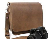 """10"""" Brown Napa Mission Leather Camera Bag"""