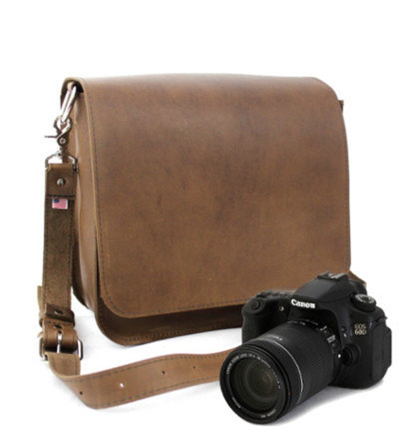 "10"" Brown Napa Mission Leather Camera Bag"