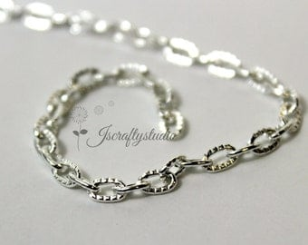 9 Feet Silver Plated Cable Chain