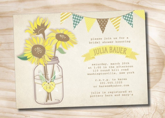 Vintage sunflower mason jar rustic bridal shower couples shower il570xn filmwisefo Images