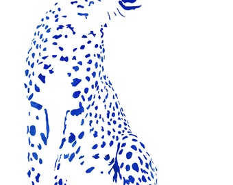Pair of Facing Cheetahs in Blue