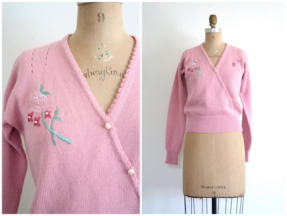 vintage 80s sweater - pointelle / Soft Mauve - dusty pink / Sweet Kawaii - 1980s
