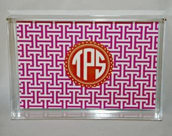 Monogram Tray - Acrylic Tray - Catchall Tray - Personalized Tray - Office Tray - Wedding Gift - Dorm Decor - Custom Lucite Tray 6.5 x 9.5