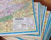 "Origami paper: 25 sheets 6"" (15cm) upcycled road atlas map"