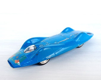 Corgi car, Proteus Campbell Bluebird Record die cast model toy car 153, sky blue, made in Great Britain, vintage 1960s, spun wheels