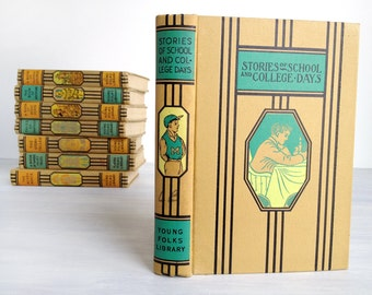 Stories of School and College Days, Young Folks' Library series children's stories, 1940s, turquoise, yellow, black stripes, vintage book