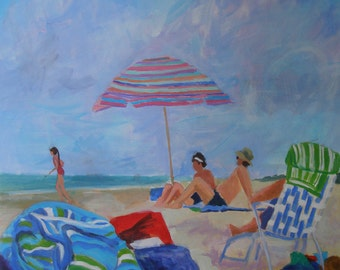 Large Beach Painting-Umbrella family ocean seascape 36 x 36 Inches Original art