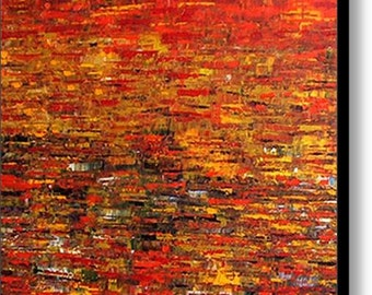 Red Huge Painting - Original Large Abstract Modern Art Oil Painting - Michel Campeau -MADE-TO-ORDER - 48''x60""