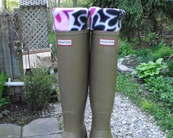 Fleece Rain Boot Liners,  Pink & Black Print with Pink Sock,  Boot Socks, Rain Boots, Gift under 25, Boots Cuffs, Size Sml/Med or Med/Lrg