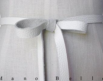 Bow Belt Seamless leather - Wedding Dress belt - White - Skinny Belt - Leather strap -  Ribbon Belt - Narrow Belt - Leather Bow Belt - White