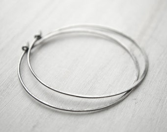 Large Sterling Silver Hoops, Hammered Silver Wire, Black Patina,Simple Hoop Earrings, Fashion Jewelry, Hand Made, Gift, EAR006