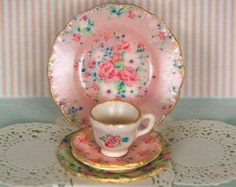 Miniature Pink Chintz Dishes Kit