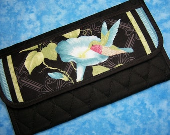 Women Wallet - Fabric Wallet Hummingbird Large Wallet Vegan Quilted Wallet Ladies Wallet Trifold Wallet Cloth Wallet Long Checkbook Velcro