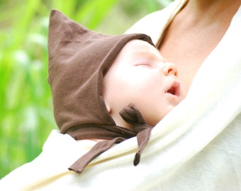 Organic Baby Hat - Newborn Hat -  Pixie - Elf - Gnome - Eco Friendly - Brown Hat - Several Colors Available
