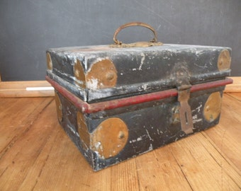 Gorgeous , vintage,  metal cash box, Ornate top handle wonderful patina
