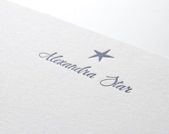 Star, personalized letterpress stationery, set of 25