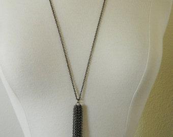 Black Chain Tassel Necklace