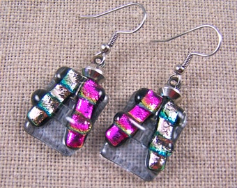 Dichroic Earrings Dangle - Pastel Pink Magenta Fuchsia Lavender Chunky Pagoda Stained Glass - Surgical Steel French Wire or Clip On