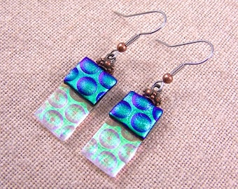 Dichroic Dangle Earrings - Emerald Green Purple with Clear - Reverse Radium Bubbles Fused Glass- Surgical Steel French Wire or Clip On