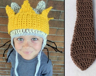 Crochet Max Halloween Costume Tail, Hat and Crown Kids or Adult Sizes- Accessories by Julian Bean