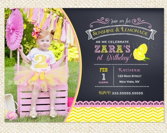Pink Lemonade Birthday Invitations