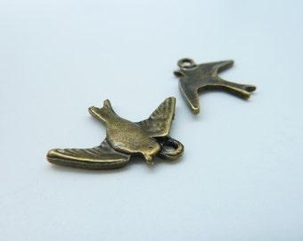 20pcs 22x18mm Antique  Bronze  Mini Swallow Bird Charm Pendant c342