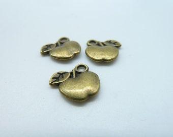 40pcs 11X14mm Antique Bronze Mini Apple Charm Pendant C1374