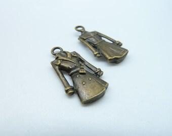 15pcs 12x23m Antique  Bronze Mini Cloth Charms Pendant c1664