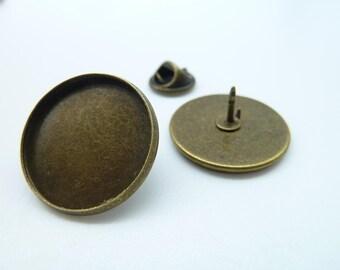 6pcs 20mm Pad Antique Bronze Brass Round Cameo Cabochon Base Setting Brooch  c2035