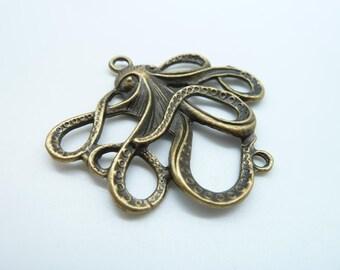 5pcs 45x50mm Antique Bronze  Octopus Fish Charm Pendant Connector Link C2328