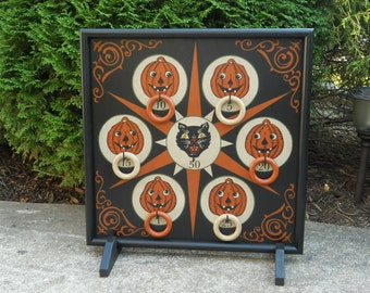 Primitive Halloween Ring Toss Carnival Ring Toss Game Board Folk Art Gameboard