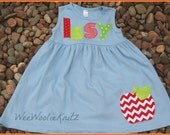 Girls Back to School Dress Personalized Aqua Red Lime  Apple Chevron Holiday Toddler School Tween