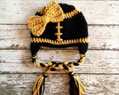 New Orleans Saints Inspired Little Miss Football Beanie in Black and Gold Available in Newborn to 5 Years Size- MADE TO ORDER