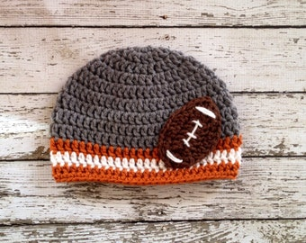 Texas Longhorns Inspired Football Beanie in Gray, Burnt Orange and White Available in Newborn to 5 Years Size- MADE TO ORDER