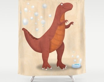 Dinosaur Shower Curtain, Little Boy's Bathroom, Kids Bathroom Decor, Dinosaur Bathroom