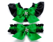 Wedding garters - bridal garters - kelly green and black garters with four leaf clovers - green garter set - irish garters - shamrock garter