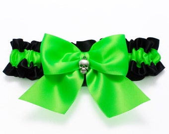 Wedding garter - bridal garter - neon green and black garter with skull - green skull garter - green and black garter - green gothic garter