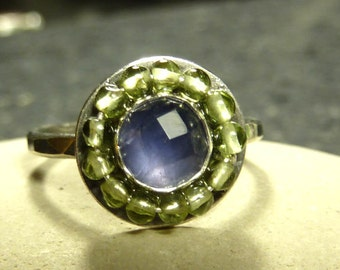 Tanzanite and Peridot Ring, rose cut Tanzanite and oxidized Sterling Silver Ring
