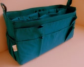 Extra large size Purse organizer  with laptop padded case - Bag organizer insert in Peacock fabric