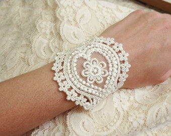 lace bracelet cuff - wedding bracelet lace - AGHNA- soft white ivory