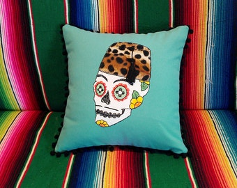 Day of the Dead Fez Sugar Skull Embroidered Calavera Pillow in Teal